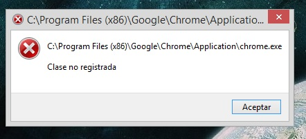 Chrome.exe Clase no registrada